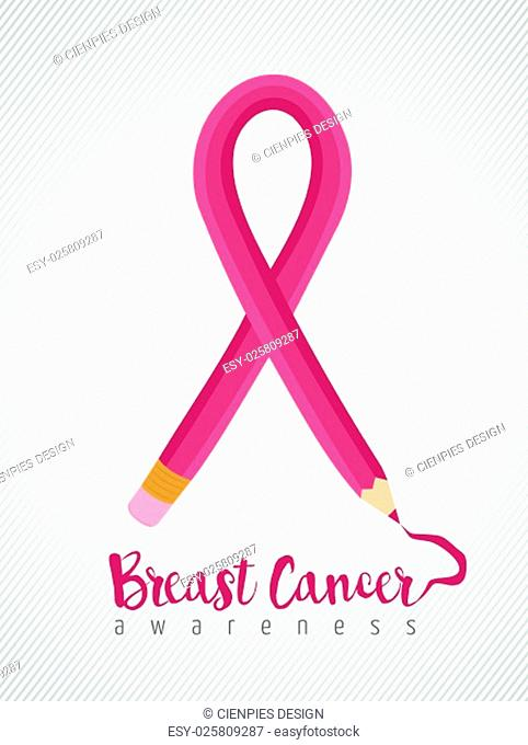 Breast cancer education concept poster with pink pencil as ribbon for awareness month. EPS10 vector
