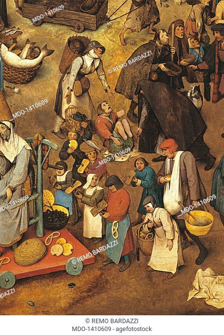 The Fight Between Carnival and Lent, by Pieter Bruegel the Elder, 1559, 16th Century, oil on wood, 118 x 164 cm. Austria, Wien, Kunsthistorisches Museum