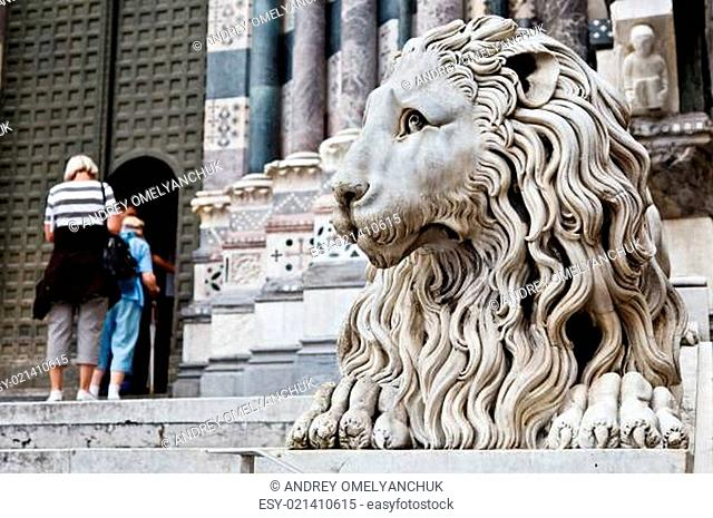 Lion Guarding Cathedral of Saint Lawrence (Lorenzo) in Genoa, It
