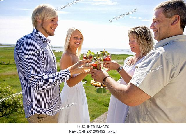 Couples toasting drink at coast, smiling