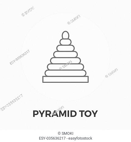 Pyramid toy icon vector. Flat icon isolated on the white background. Editable EPS file. Vector illustration