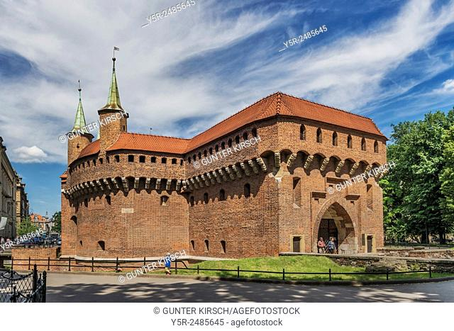 The Barbican in Krakow is the largest extant Barbican in Europe. The fortification was built from 1498 to 1499 from brick, Krakow, Lesser Poland, Poland, Europe