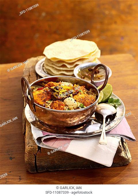 Chicken and vegetable biryani India