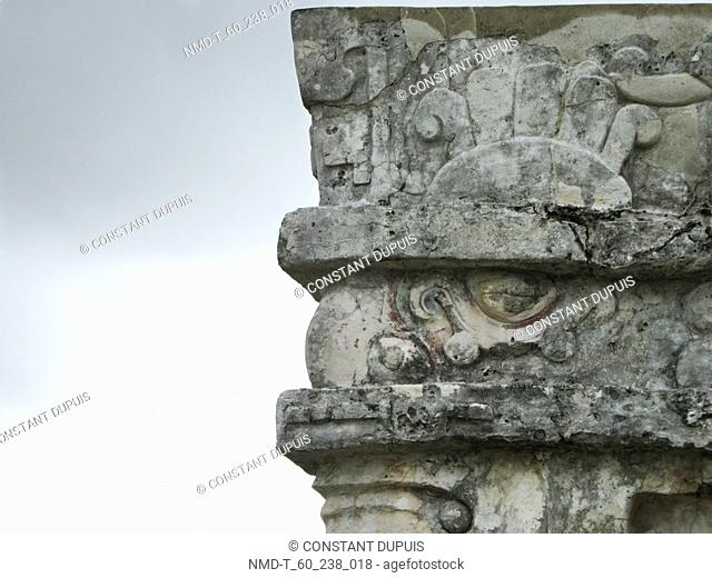 Carvings on a stone structure, Tulum, Riviera Maya, Quintana Roo, Mexico