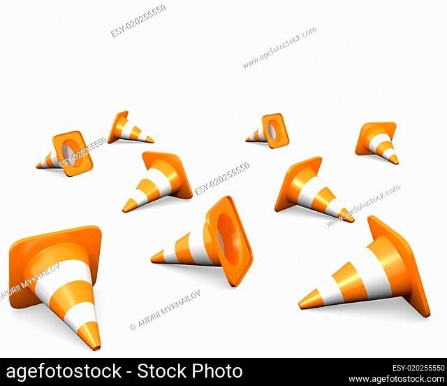Large group of traffic cones