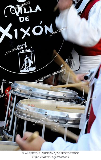 Drums bagpipe band Festival of the Book Gijon, Llanes, Asturias
