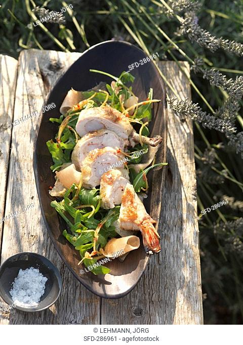 Corn-fed poularde with prawn stuffing and rocket and melon salad