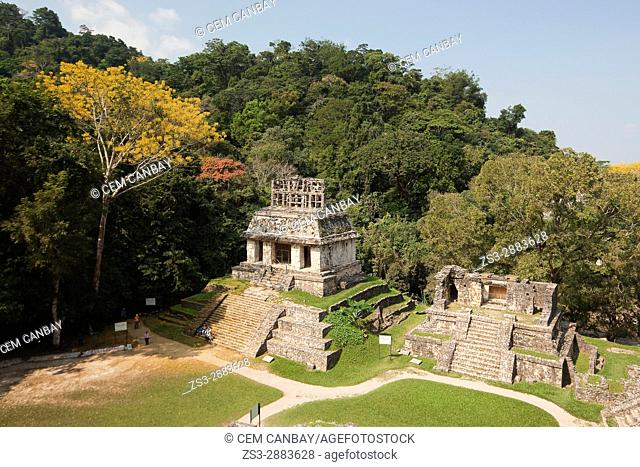 View to the Temple Of The Sun, Palenque Archaeological Site, Palenque, Chiapas State, Mexico, North America
