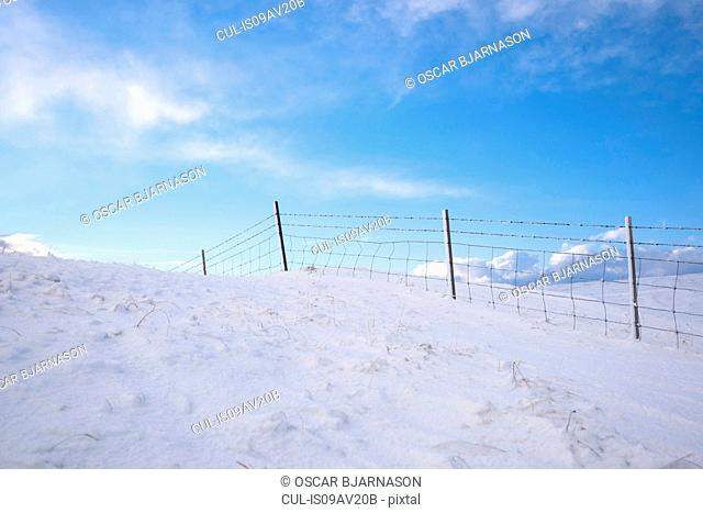 Wire fence on snow covered landscape and blue sky, Hveragerdi, Iceland