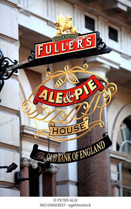 England, London, sign of a pub