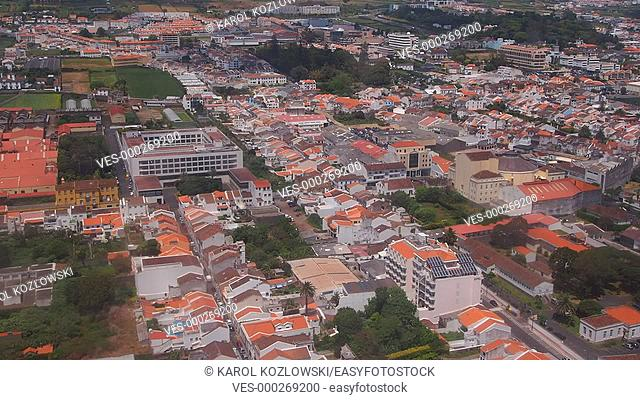 Ponta Delgada – view through the plane window, Island of Sao Miguel, Azores, Portugal