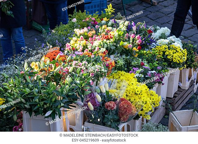 Flowers being sold at the farmers market at the Naplavka riverbank in Prague