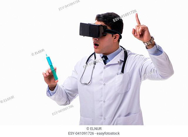 Doctor wearing a vr virtual reality headset isolated on white background