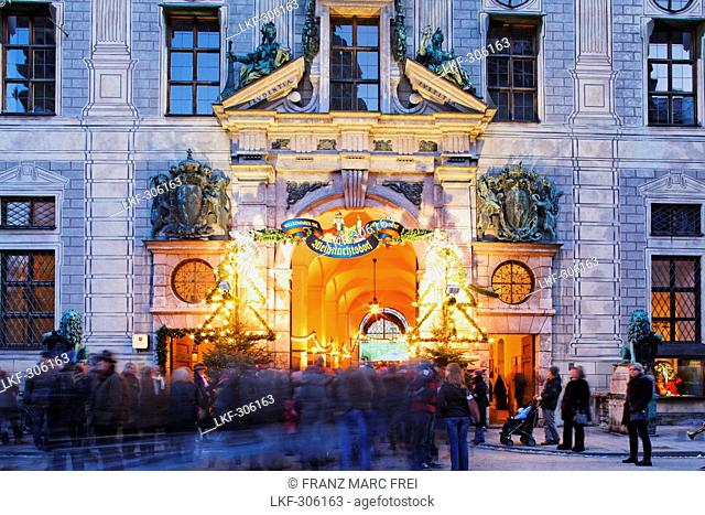 Entrance to the Weihnachtsdorf, Christmas market in the courtyard of the Residenz, Residenzstrasse, Munich, Bavaria, Germany