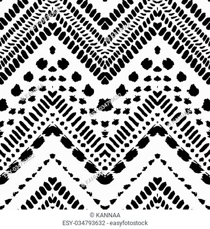 Hand drawn painted seamless pattern. illustration for tribal design. Ethnic motif. Zigzag and stripe line. Black and white colors
