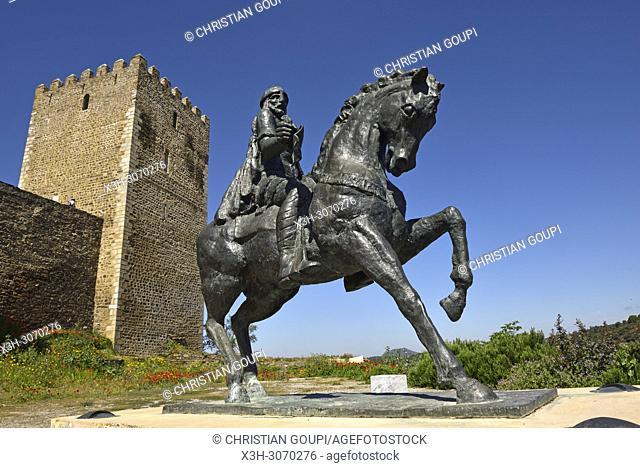 Equestrian statue of Ibn Qasi, governor of the Taifa of Mertola in 12th century A. D, Castle of Mertola, Alentejo region, Portugal, southwertern Europe