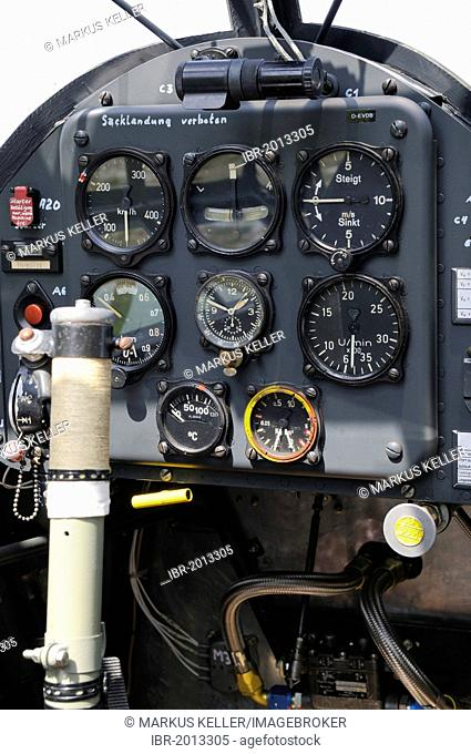 Cockpit of a Fieseler Fi 156 Storch, Europe's largest meeting of vintage aircraft at Hahnweide, Kirchheim-Teck, Baden-Wuerttemberg, Germany, Europe