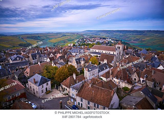 France, Cher 18, Berry, Sancerre village, the roofs, vineyard in autumn