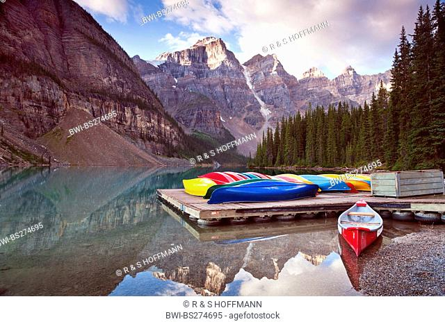 Colorful canoes at Moraine Lake, Canada, Alberta, Banff National Park