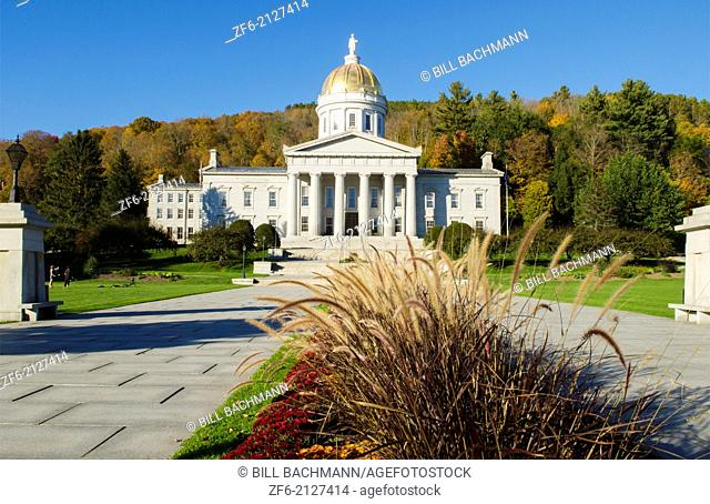 Montpelier Vermont Capital city smallest in the USA Capitol Building dome with fall foliage in Northern New England