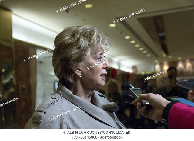 Linda McMahon speaks with the press following her meeting with United States President-elect Donald Trump at Trump Tower in New York, New York