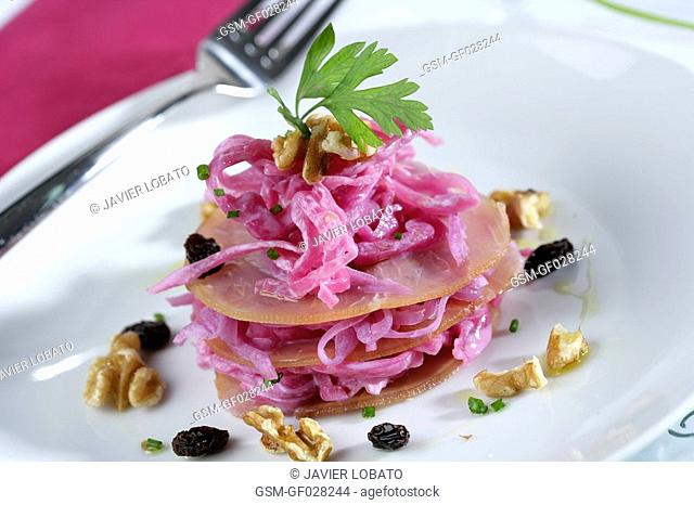 Smoked swordfish millefeuille with red cabbage, yoghurt and nuts salad