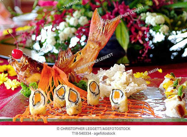 a dish of seafood