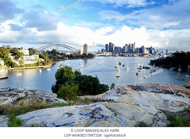 A view over Berrys Bay towards Sydney Harbour and Central Business District
