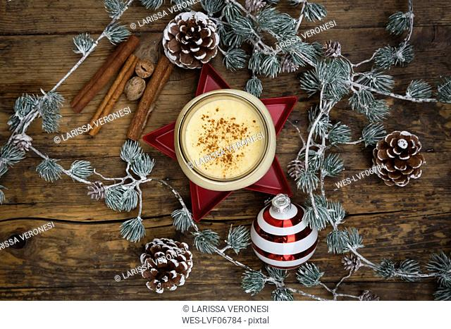 Eggnog in glass, christmas decoration