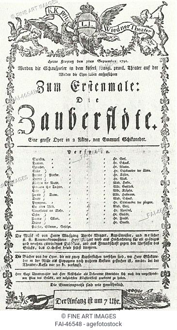 Playbill from the first performance of The Magic Flute at the Theater auf der Wieden in Vienna, September 30, 1791 by Anonymous...
