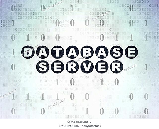 Software concept: Database Server on Digital Data Paper background