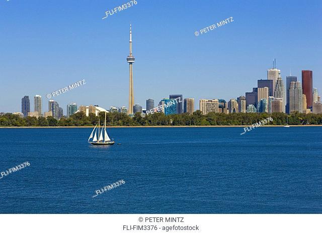 City Skyline with Sail Boat on Lake, Toronto, Ontario