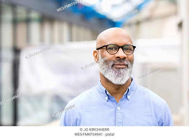 Portrait of smiling businessman with beard wearing glasses