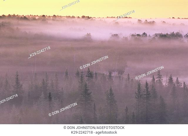 Morning mists in a valley, Greater Sudbury, Ontario, Canada