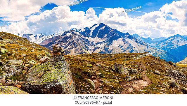 Stack of rocks in mountains, Santa Caterina Valfurva, Bormio, Italy