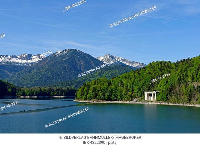Sylvenstein Dam, dammed lake with Karwendel Mountains and water castle, Upper Bavaria, Bavaria, Germany