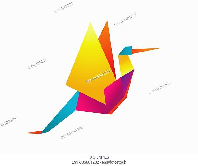 Vibrant colors origami stork