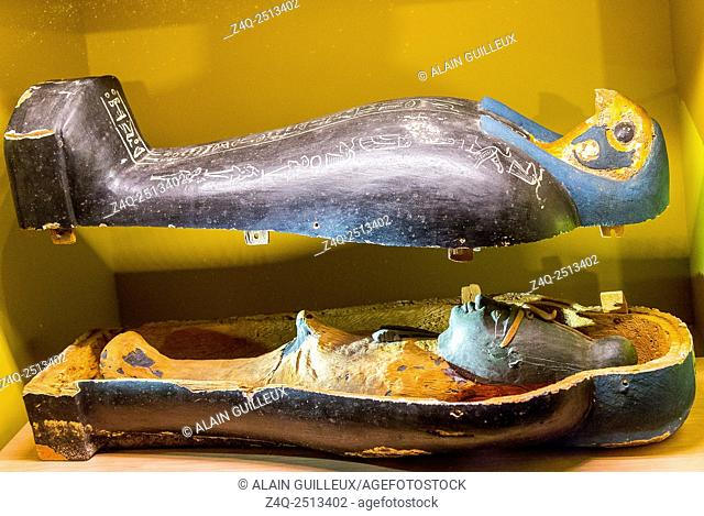 "Photo taken during the opening visit of the exhibition """"Osiris, Egypt's Sunken Mysteries"""". Egypt, Cairo, Egyptian Museum, statuette of Osiris vegetans"