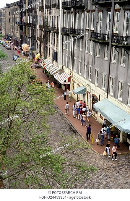 Savannah, Georgia, Waterfront, Aerial view of people walking along the cobblestone River Street in the Historic Riverfront District of Savannah in the state of...