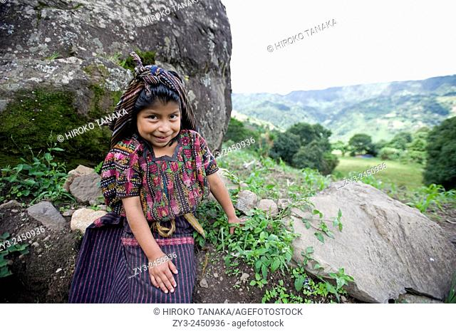 Guatemala indigenous girl in traditional clothing in Tiera Linda, Solola, Guatemala
