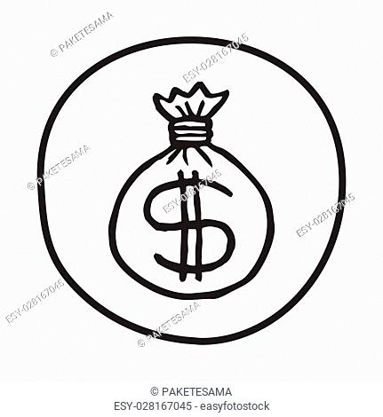 Doodle Money Bag icon. Infographic symbol in a circle. Line art style graphic design element. Web button. Money, spendings, currency, financial concept