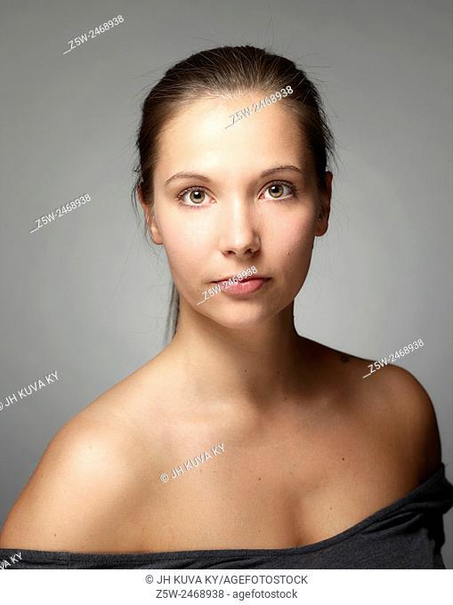 Portrait, natural beautiful woman face, head and shoulder shot