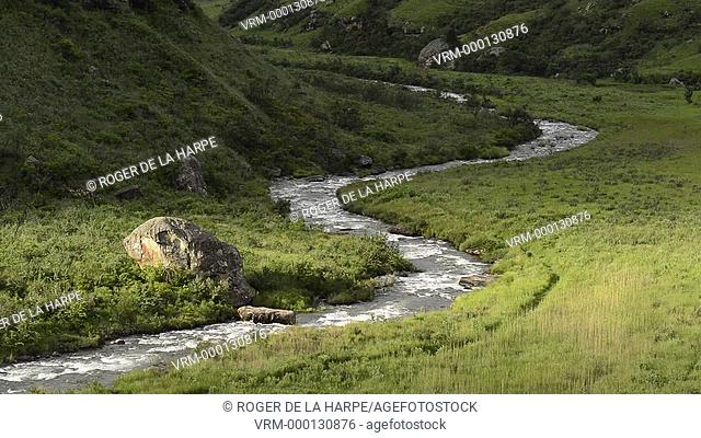 Scenic view of Bushman's River. Giant's Castle Game Reserve. Ukhlahlamba Drakensberg Park. KwaZulu Natal. South Africa