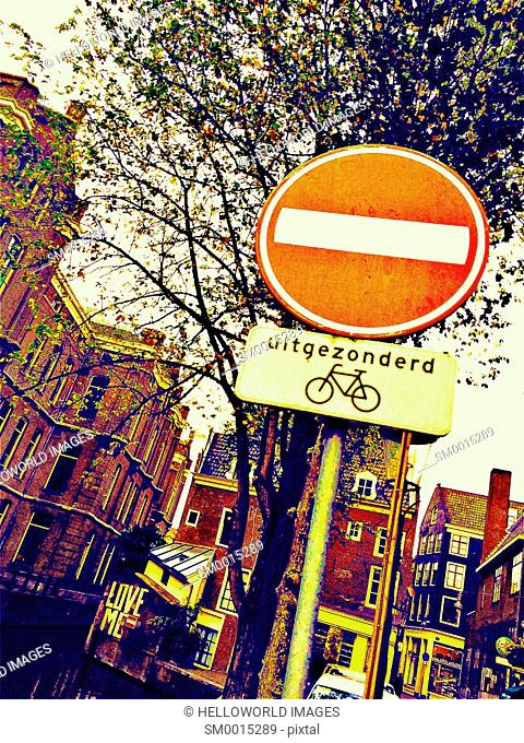 No entry except for bicycles sign in Dutch, Amsterdam, Holland