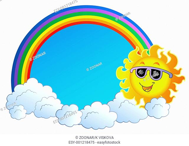 Rainbow with Sun and clouds - color illustration