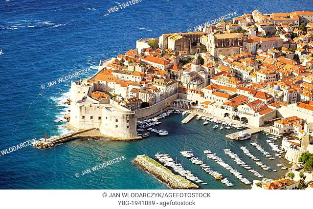 Croatia - aerial view of Dubrovnik, Old Town harbor, Dalmatia, Croatia, UNESCO