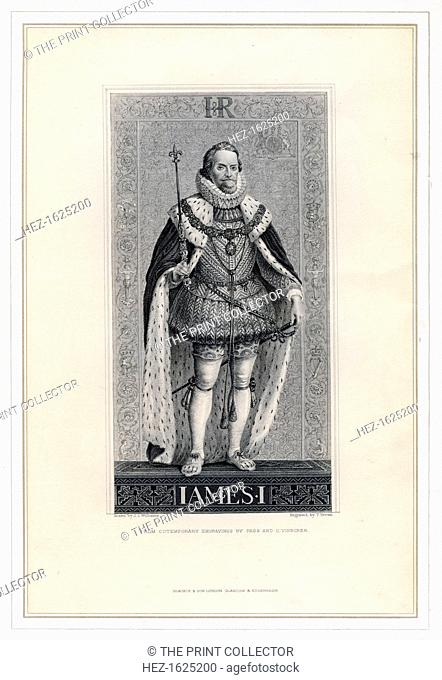 James I of England. Portrait of King James (1566-1625), the first King of Great Britain. He ruled in Scotland as James VI from 1567