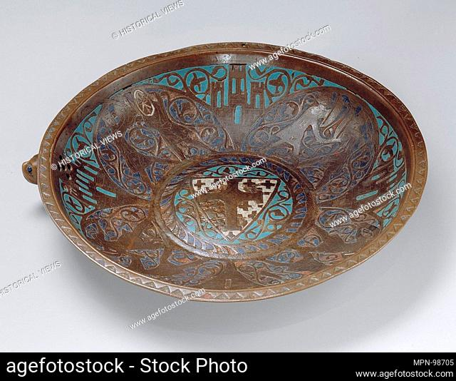 Gemellion (Hand Basin) with the Arms of the Latin Kingdom of Jerusalem. Date: ca. 1250-75; Geography: Made in Limoges, France; Culture: French; Medium: Copper:...