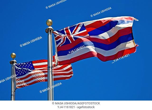 flags of the United States of America and the State of Hawaii at the entrance of Puukohola Heiau National Historic Site, Kawaihae, Kohala, Big Island, Hawaii