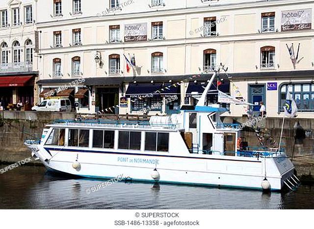 Tourboat moored at a harbor, Honfleur Harbour, Seine River, Honfleur, Calvados, Basse-Normandy, France